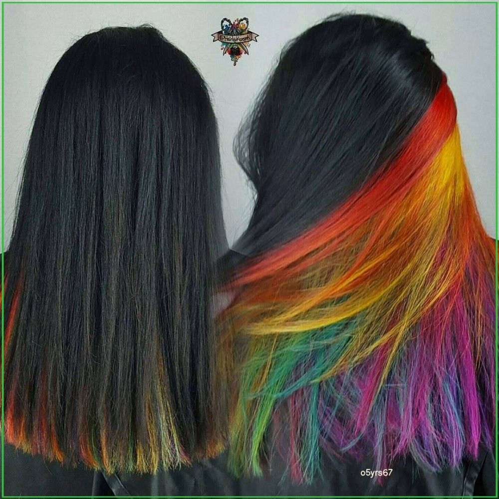 Surprise Colorful Hair Dye Jobs Surprise Hair Color is Business on the Top, Party Underneath  #Straight #Front #Halloween #Snacks #Devour #October