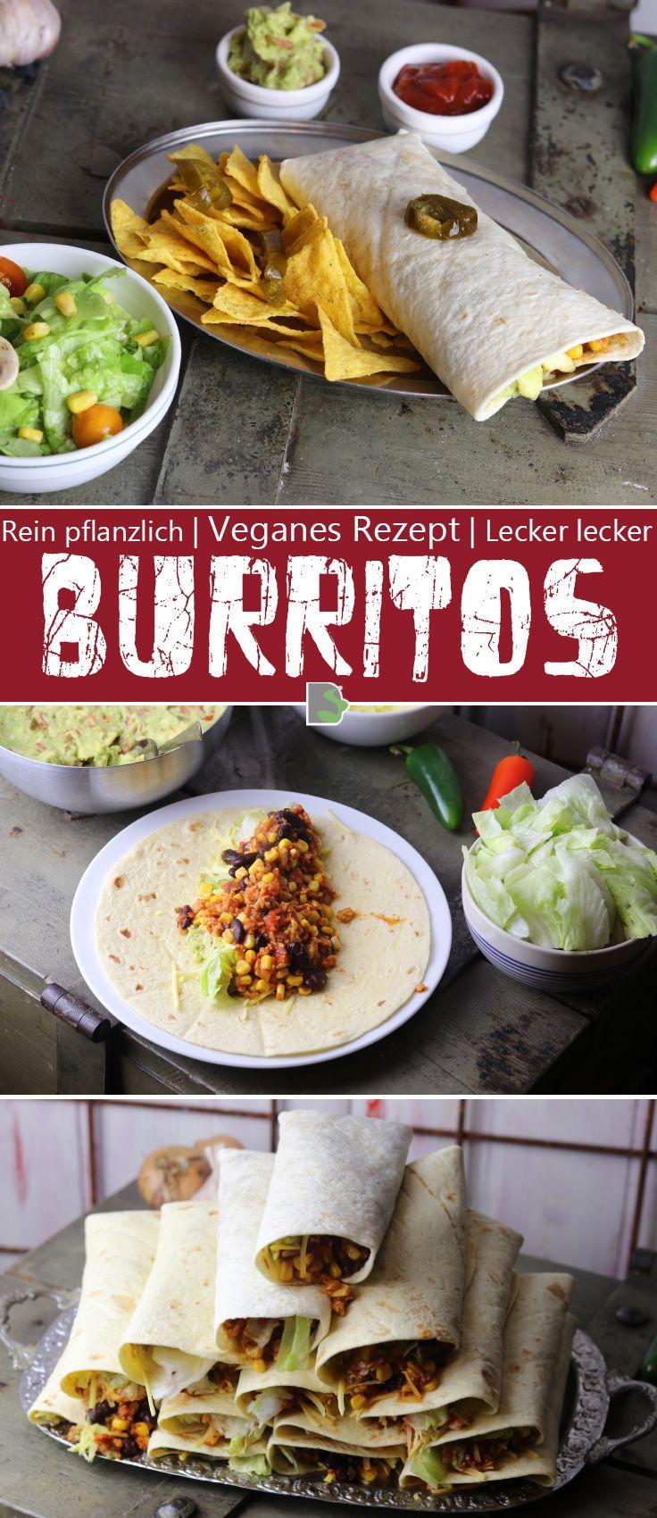 Beef and Bean Burritos mit Tortilla Chips und Salat   Bean burritos ...