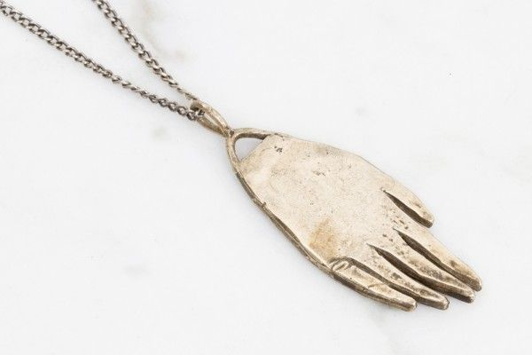 hand amulet necklace - brass on silver - Datter Industries ($90.00) - Svpply