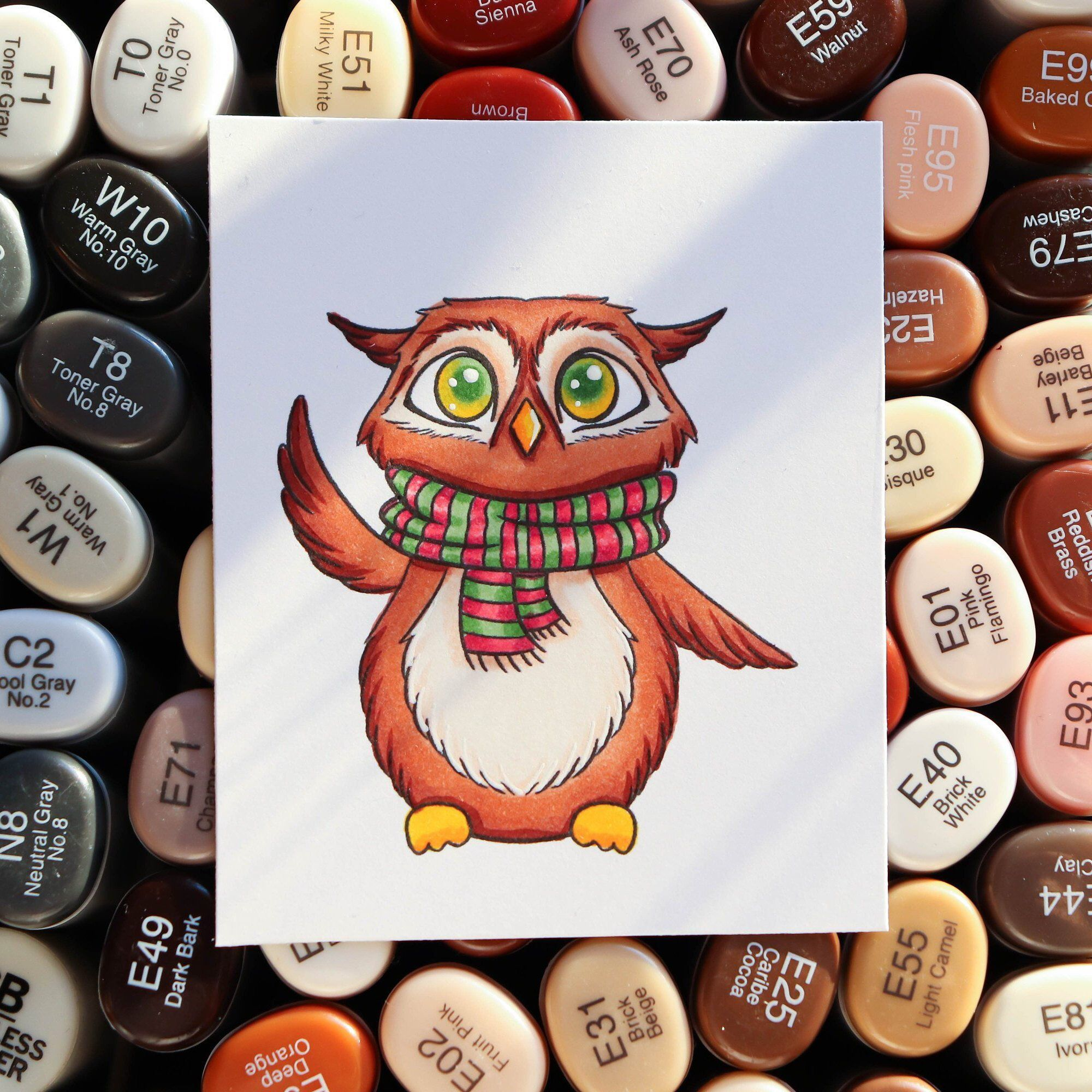 Cute waving owl digistamp/Instant download printable owl