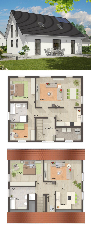 Modernes Zweifamilienhaus Grundriss mit Satteldach