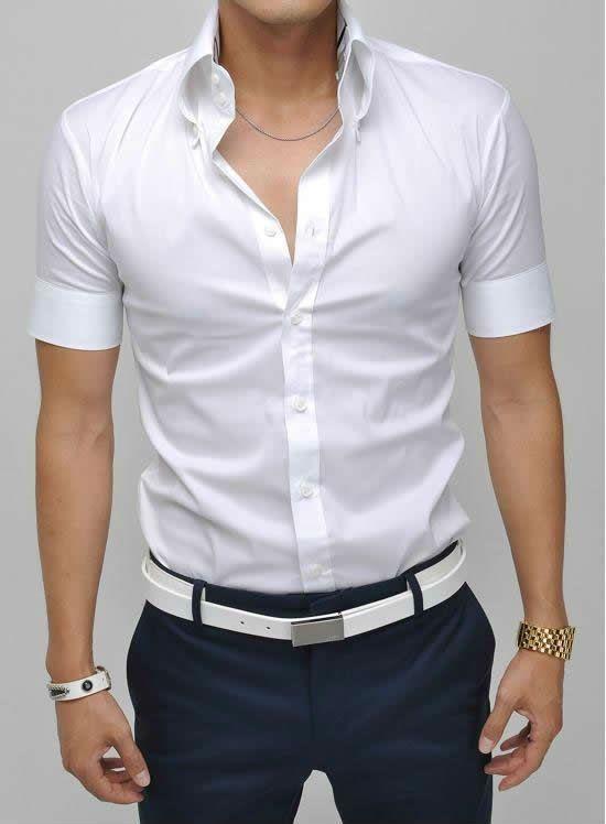 Camisa Para Hombre De Slim Fit Casual De Corea Del Estilo De
