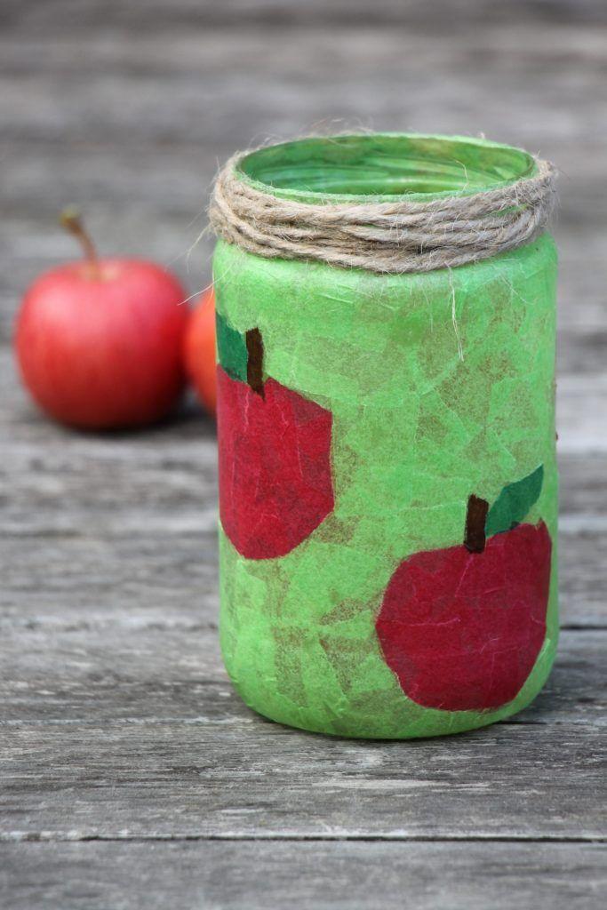 Gläser-Upcycling: Windlichter basteln mit Transparentpapier - Lavendelblog #laternebastelnkinder
