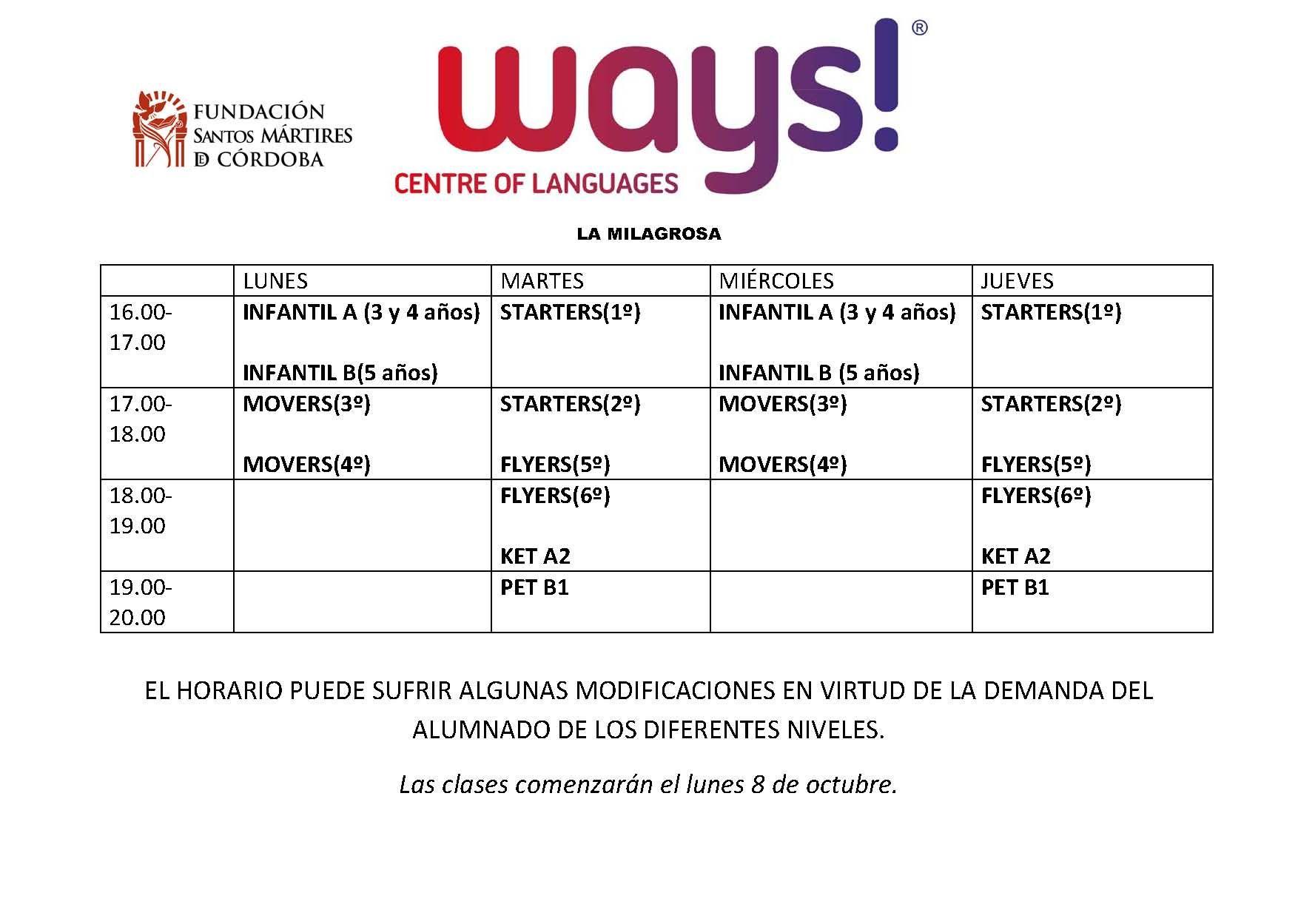 Horarios Ways! Colegio La Milagrosa (Bujalance)