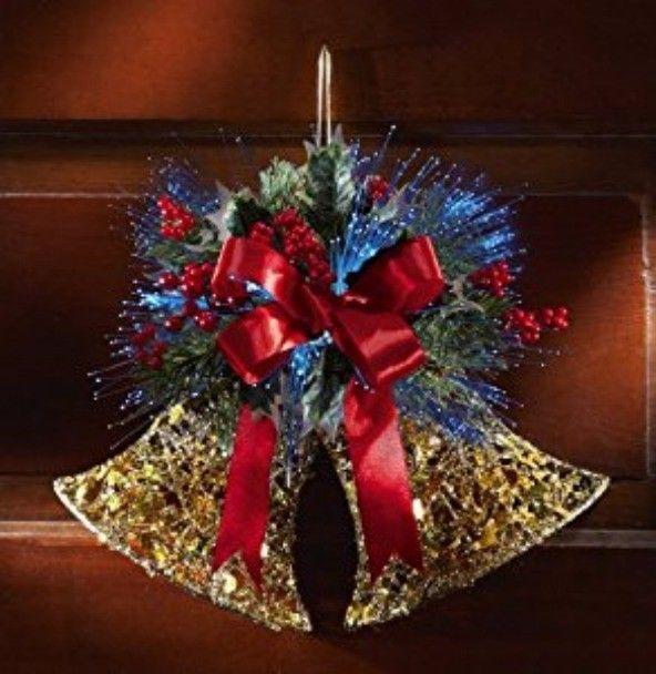 Christmas Holiday Wall Decor Fiber Optic Jingle Bells Holiday Wall