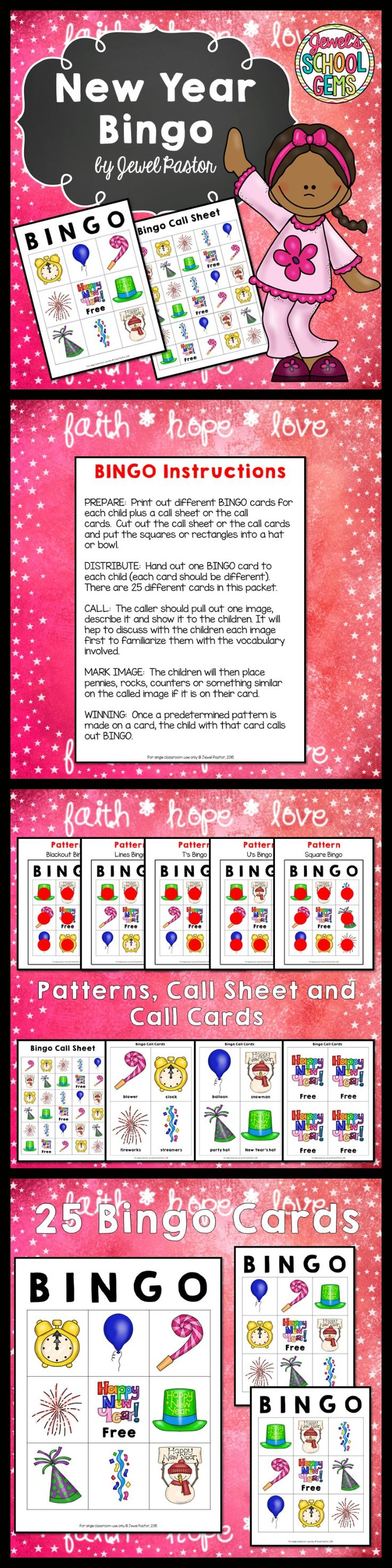 New Year's 2020 Activities (New Year's Bingo Game Cards
