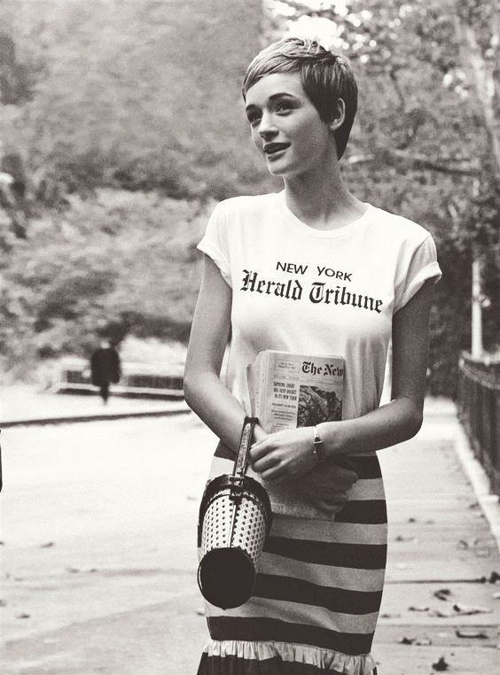 T Shirt Herald Tribune Jean Seberg Breathless 1960 Gray Short Hair Styles Short Hairstyles For Women Hair Styles
