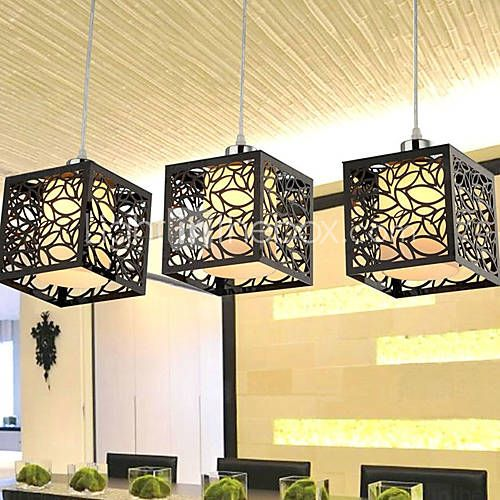 Pendant Light With 3 Lights In Cubic Shade Hang Over A
