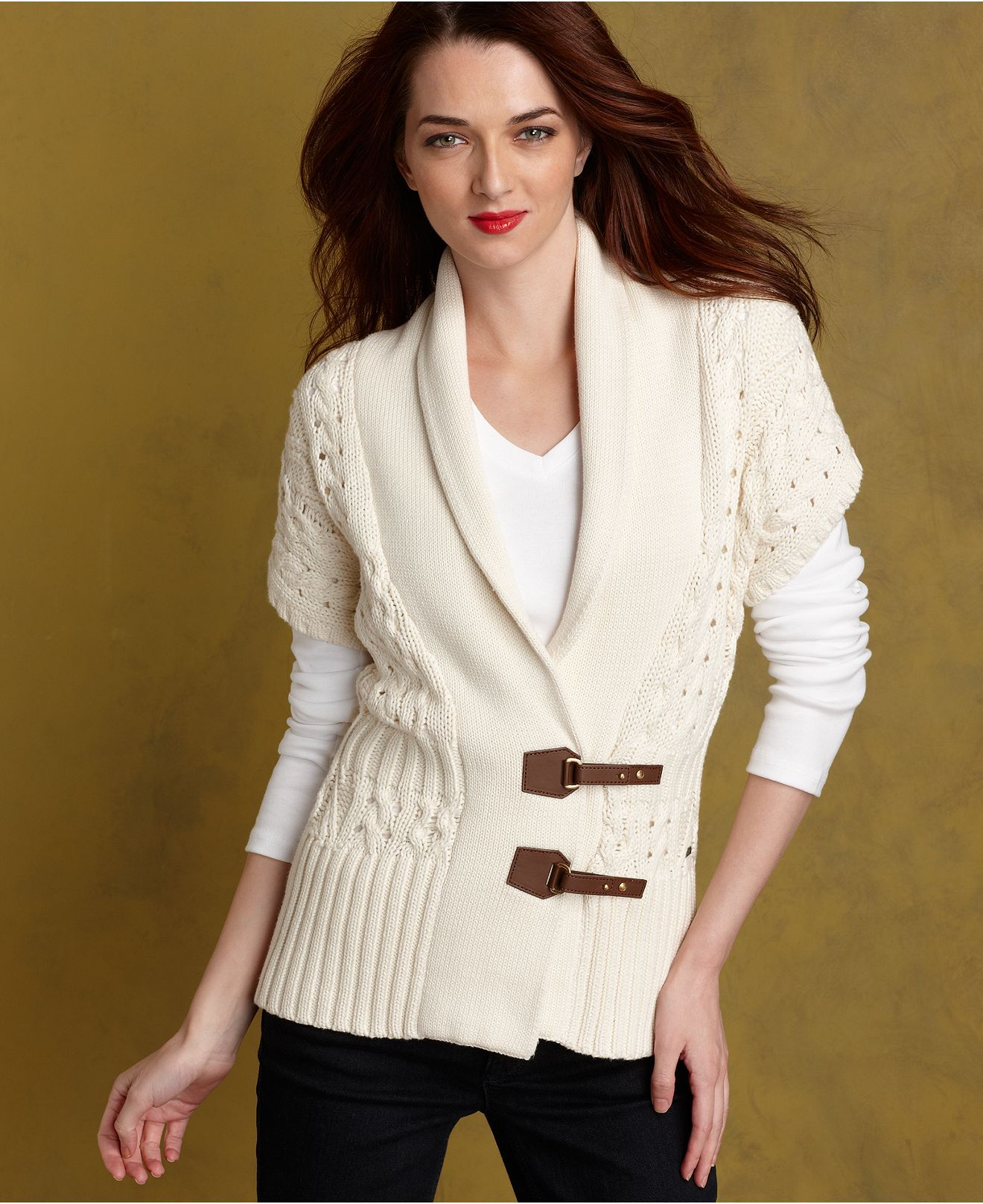 Tommy Hilfiger Sweater, Phoebe Short-Sleeve Cardigan - Womens ...