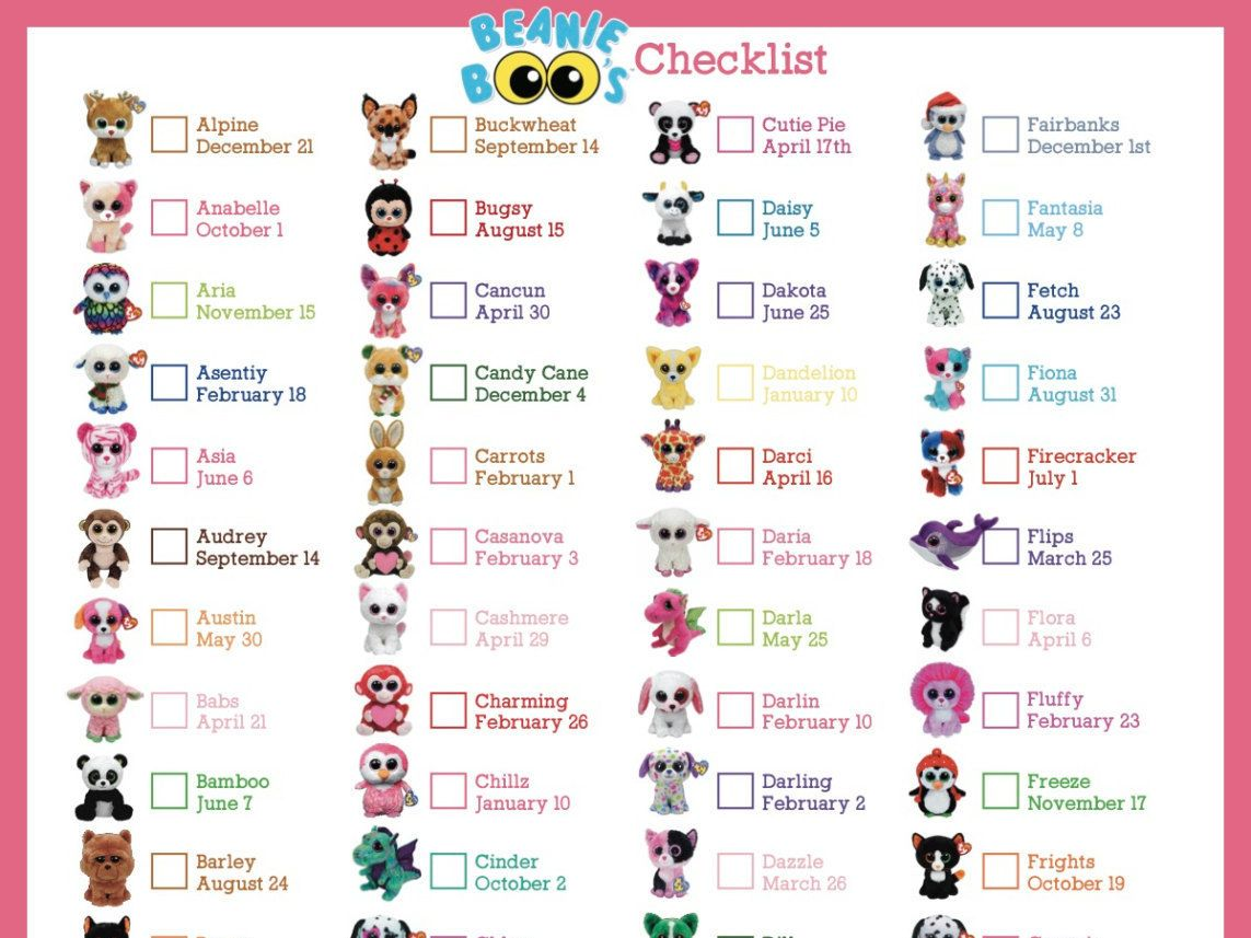 photograph about Beanie Baby Checklist Printable named Pin via Apples upon Beanie boos Ty beanie boos, Beanie boos