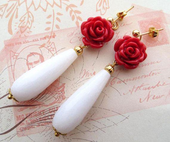 White Jade Drop Earrings Red Rose Uk Gemstone Jewelry Teardrop Italian Jewels Sofias Bijoux
