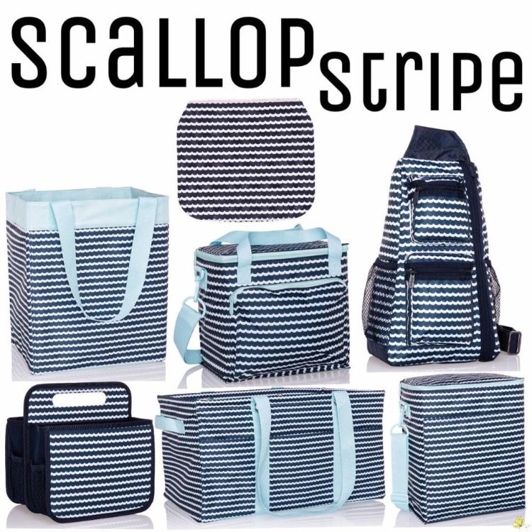 Thirty One Gifts Thirty One 31 Essential Storage Tote  Bag ~SCALLOP STRIPE