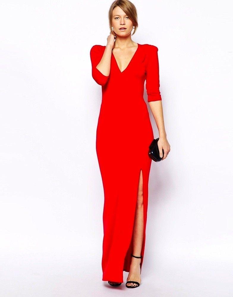 Vestido rojo largo cuello V marca LOVE | Moda Vestidos