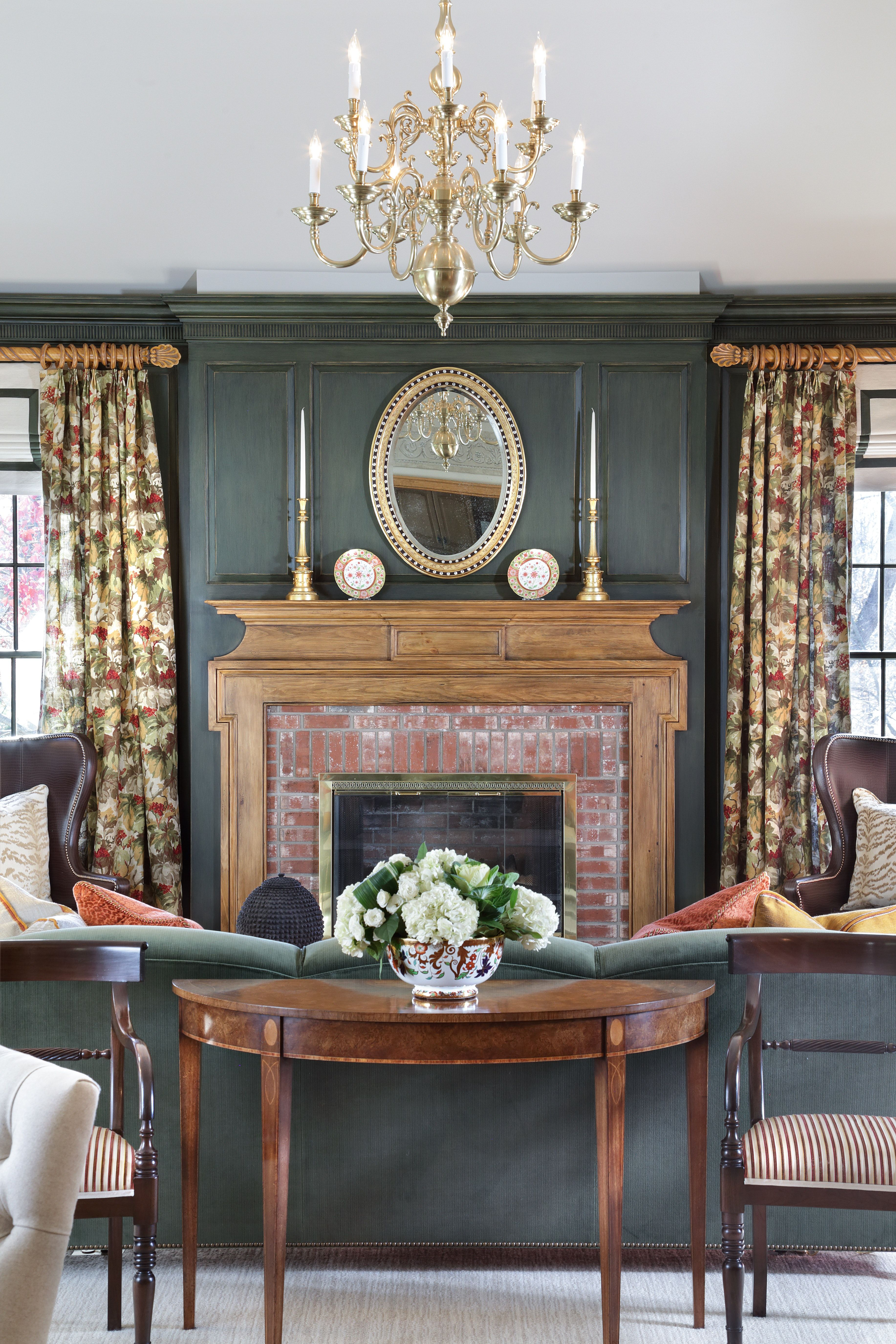 English Country Family Room Featuring Green Strie Custom Paneling