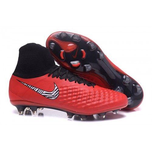 Nike Magista obra II FG Alto Top con ACC - Rojo Negro Cinturones de fútbol