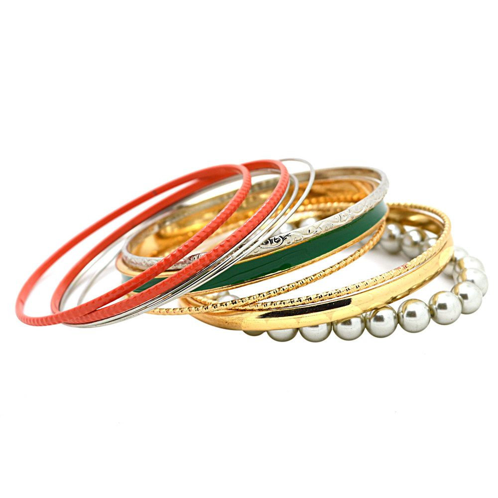 fashion new bangles designs gray imitation pearl goldcolor