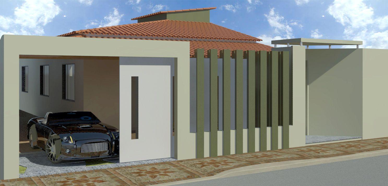 Fachadas de casas modernas com muros fotos port es for Fachadas de garajes modernos