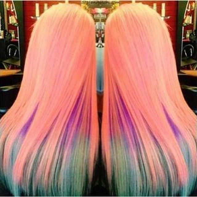 Top Post of the Day! Slice of pastel paradise by @shearmadness13. It looks like Mystical Mint and Too Cute Coral. Not sure about the pinkish color. @shearmadness13 please enlighten us! HOT Beauty Magazine #hotonbeauty @hotonbeauty