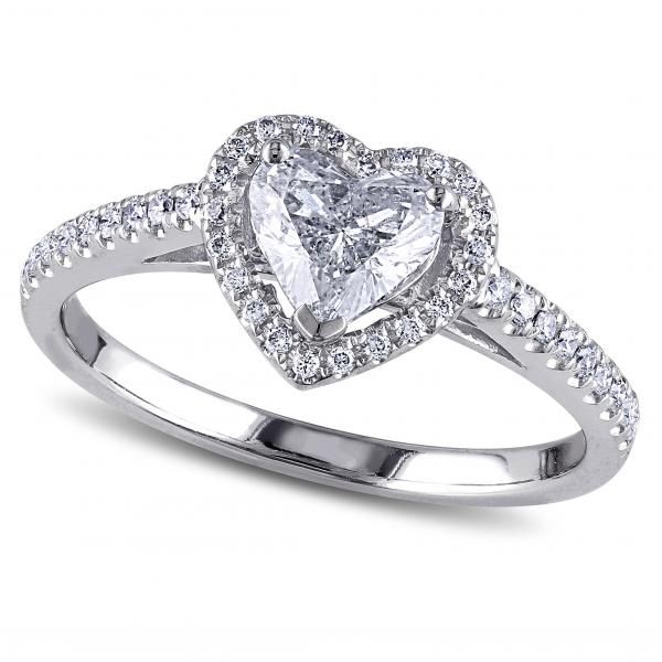 Heart Shaped Diamond Halo Engagement Ring in 14k White Gold (1.00 ...