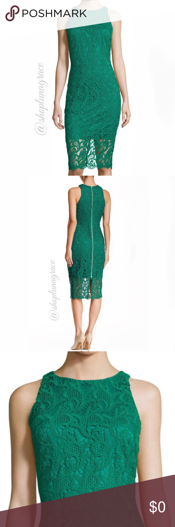 Green dress with lace overlay  Just In Alexa Admor Lace Overlay Dress NWT  My Posh Picks