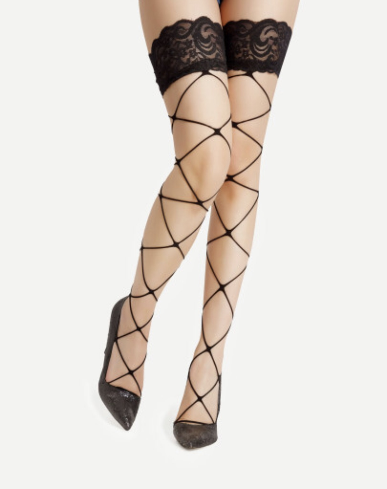 2e6886c19 Black Fishnet Thigh Highs with Lacy Cuff