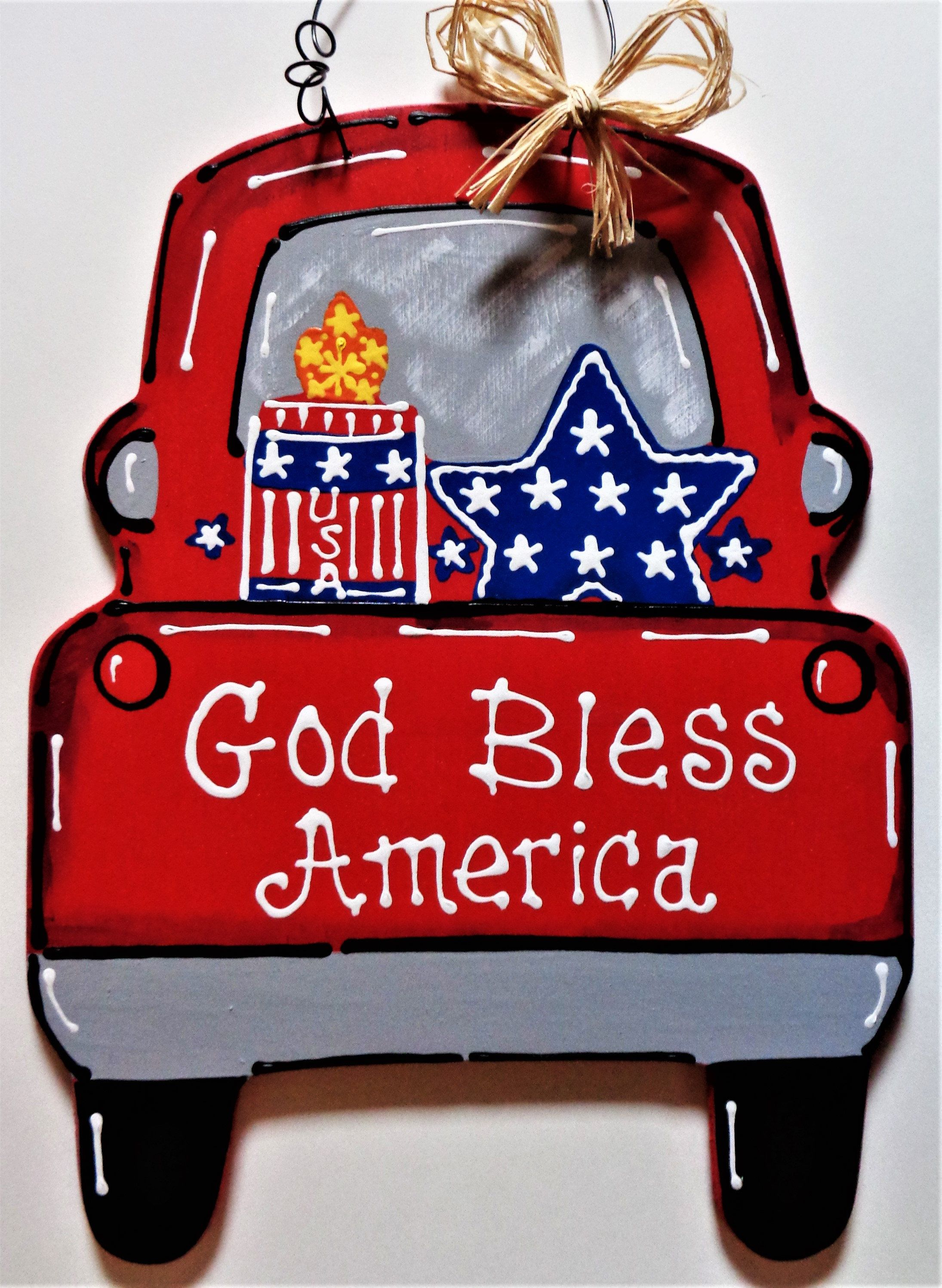 God Bless America Vintage Style Truck Americana 4th July
