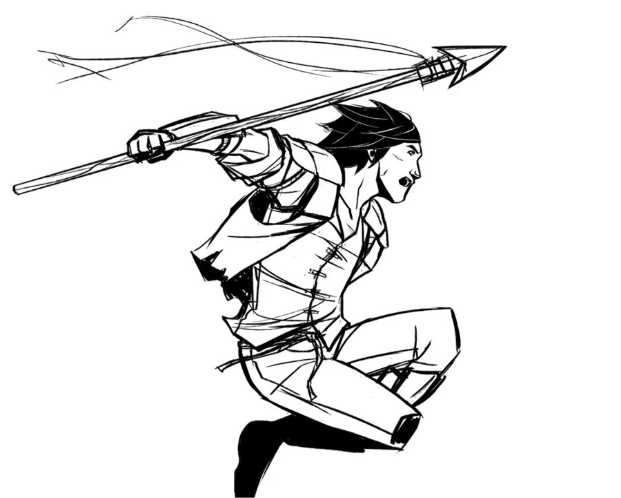 Kaladin jumping the chasm from the bridge. Stormlight Archive.