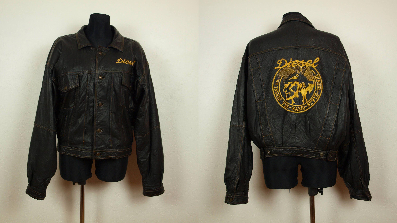9326804cb Vintage DIESEL leather jacket Size Men's M Women's L, Brown leather ...