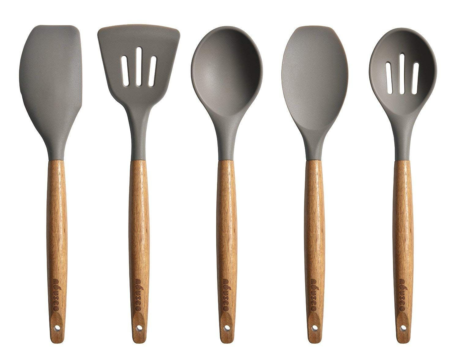 Colourful Five Piece Eco-friendly Bamboo Kitchen Utensil Set Long Flat Handles