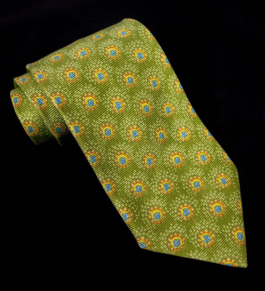 62885a44 ERMENEGILDO ZEGNA Silk Tie Green Yellow Blue Su…   Check out what ...