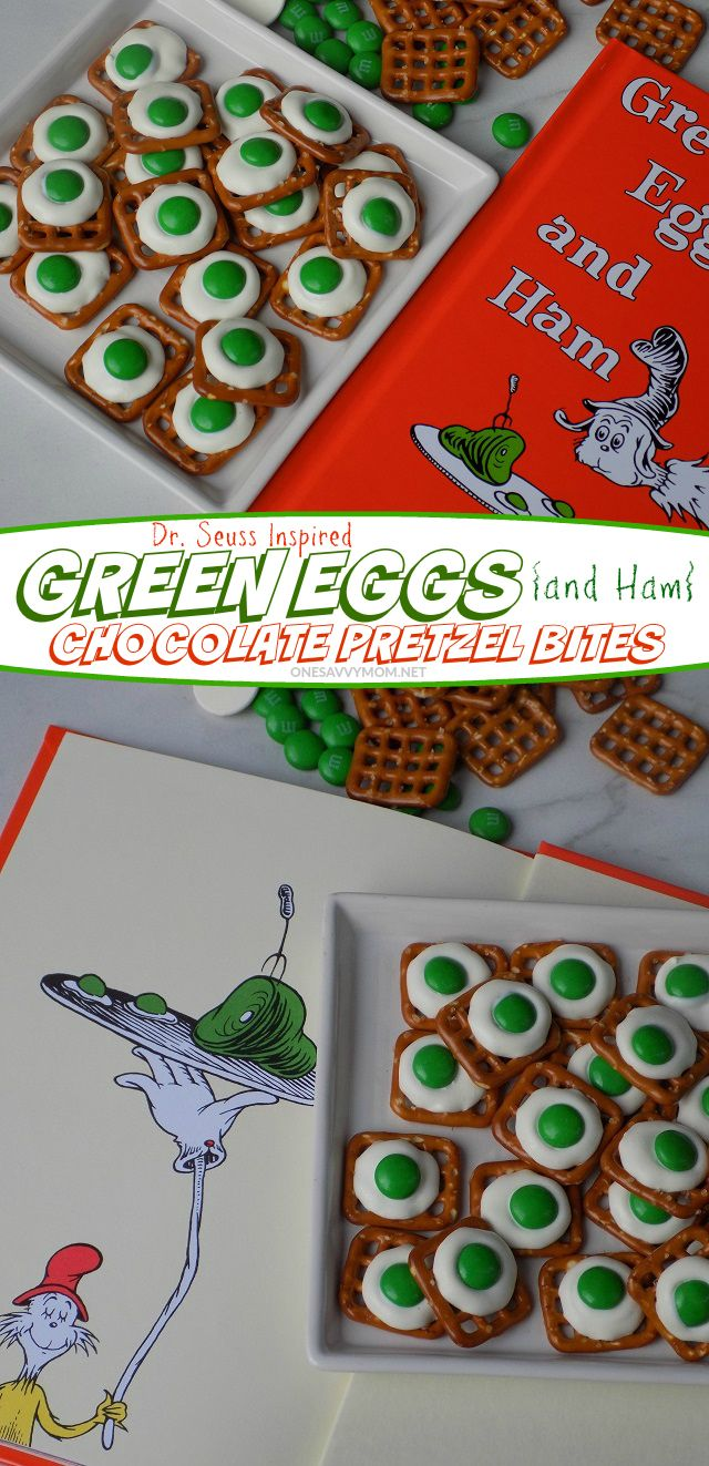 One Savvy Mom | NYC Area Mom Blog: Green Eggs { and Ham } Chocolate Pretzel Bites - A Deliciously Silly Snack Recipe For Dr. Seuss Day