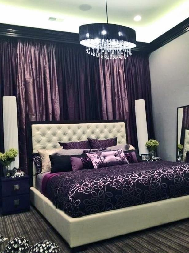 Cute bedroom ideas, chandelier, purple,cushion Rossome Rooms