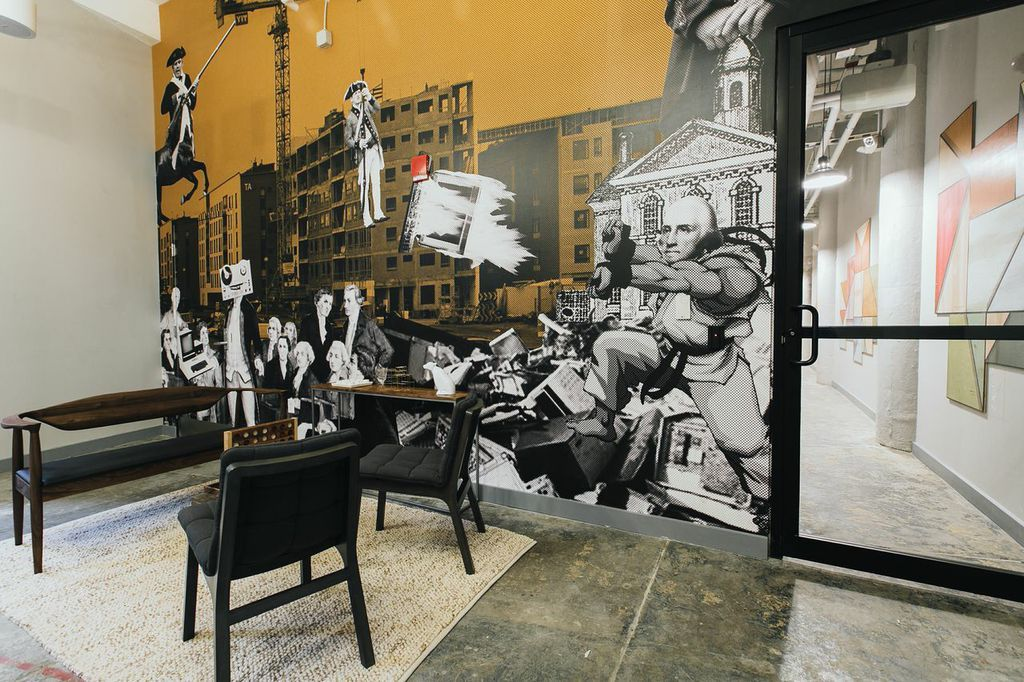 WeWork includes more one of a kind, memorable wall murals at WeWork Fort Point.