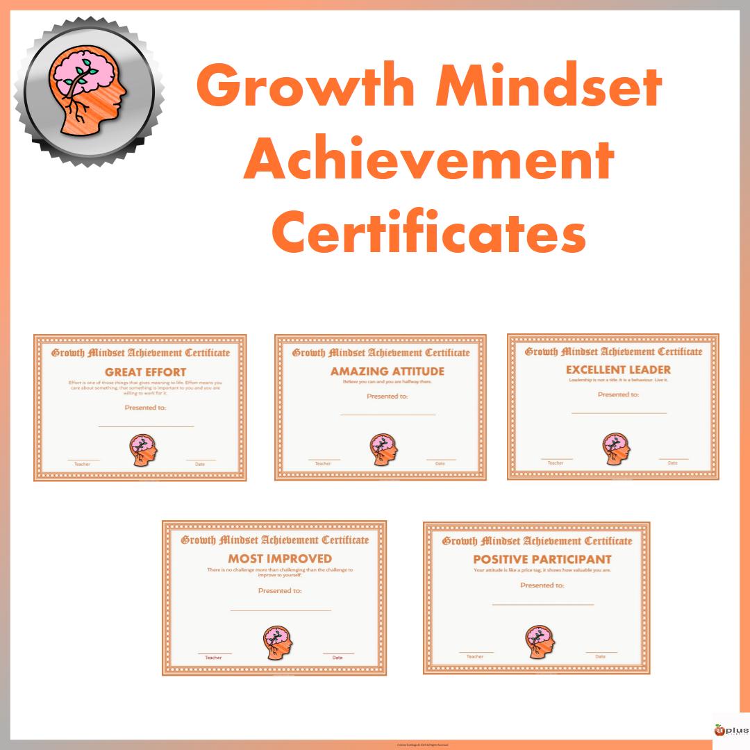 Growth Mindset Achievement Certificates For Teens Orange