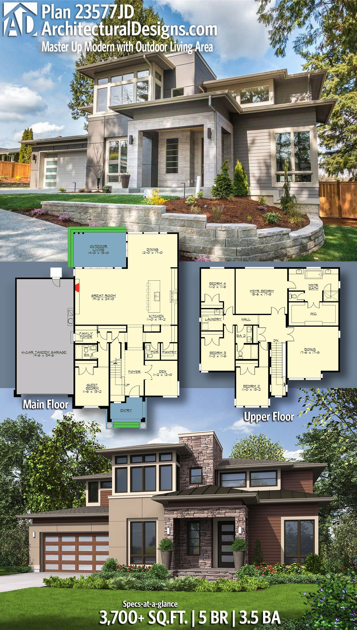 Plan 23577JD Master Up Modern with