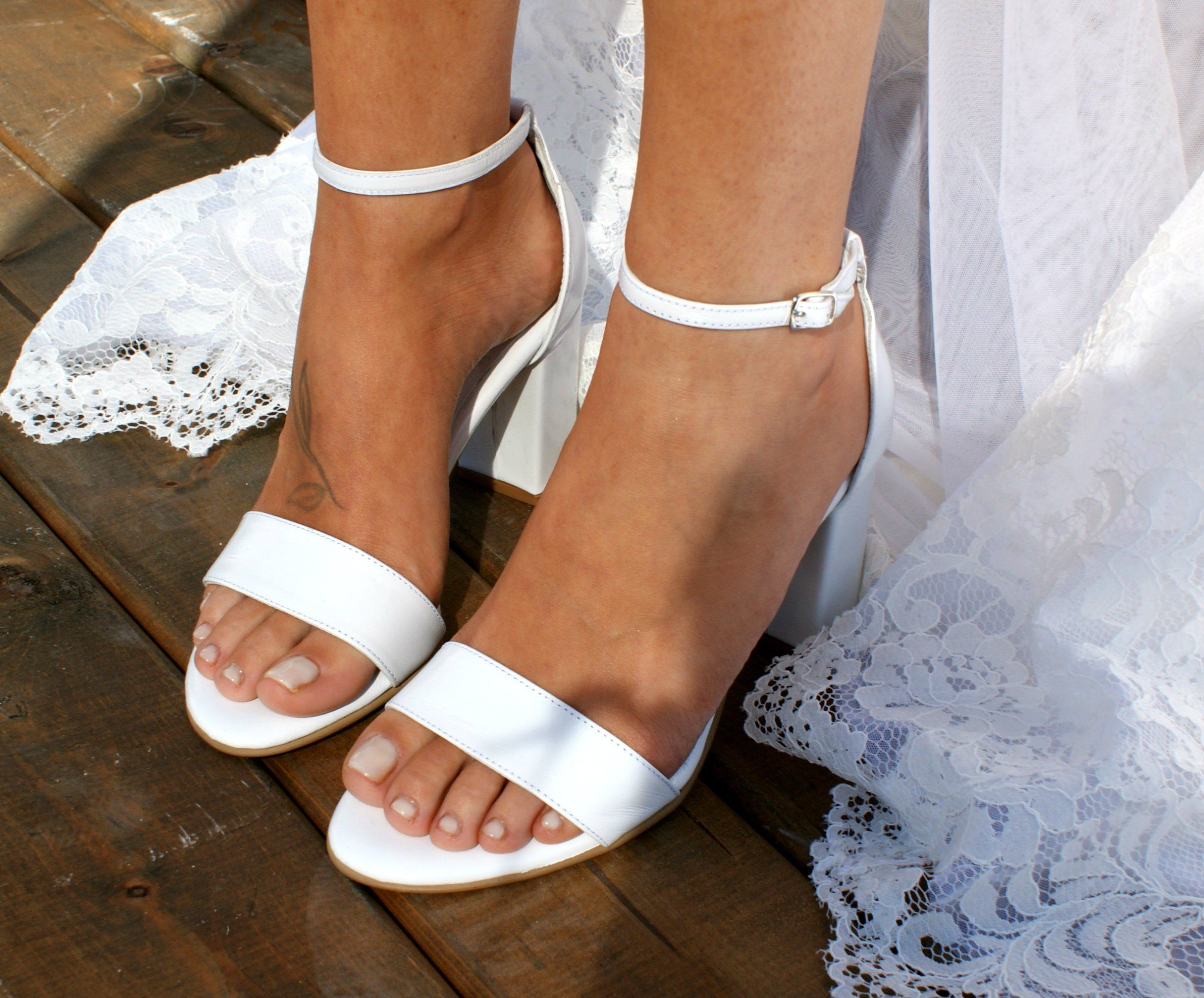 Block heel white leather wedding sandals/ Handmade white