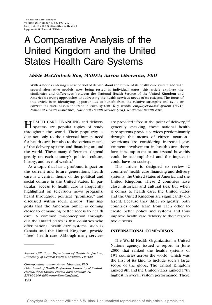 A Comparative Analysis Of The UK And US Health Care Systems - health care attorney sample resume