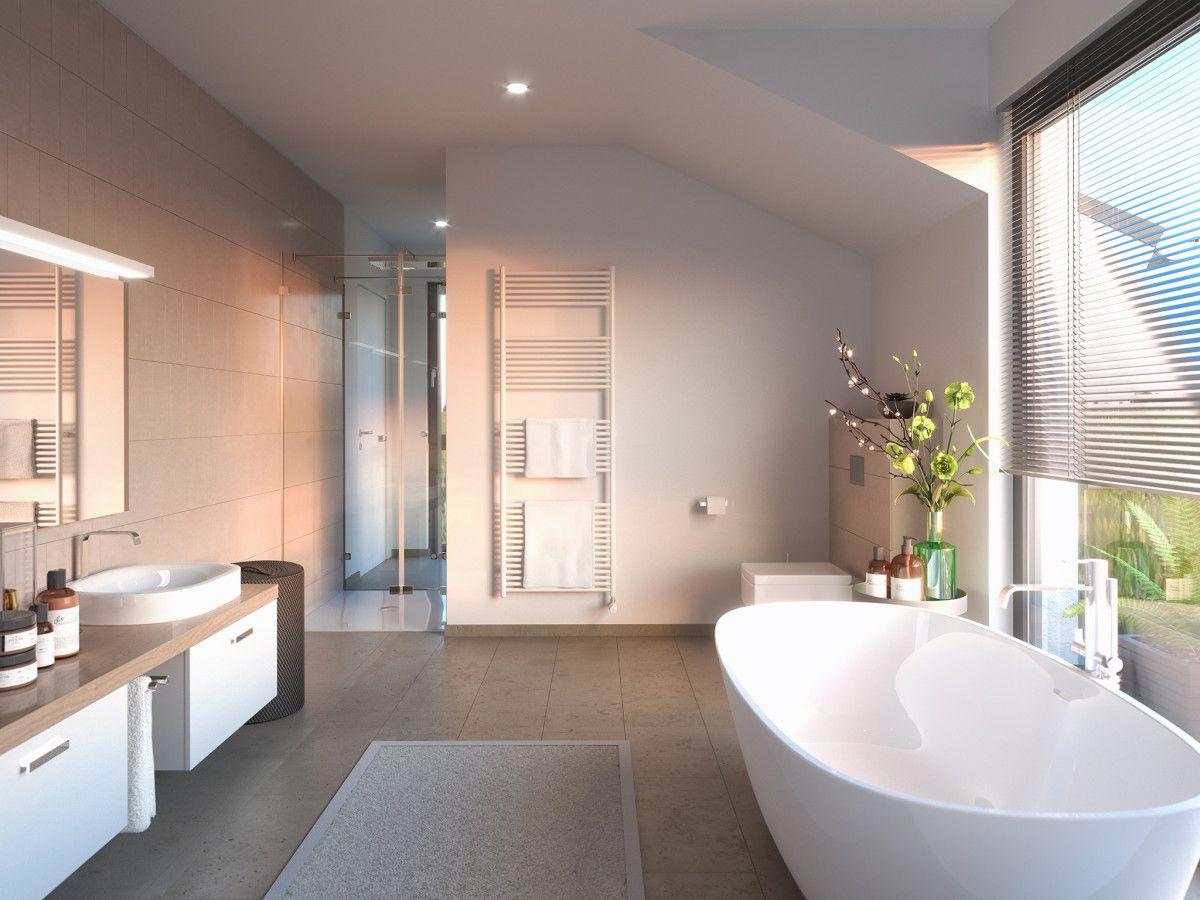 Badezimmer Modern Mit Dachschrage Inneneinrichtung Haus Concept M 155 Bien Zenker Hausba Badezimmer Dachschrage Waschtisch Landhausstil Bad Mit Dachschrage