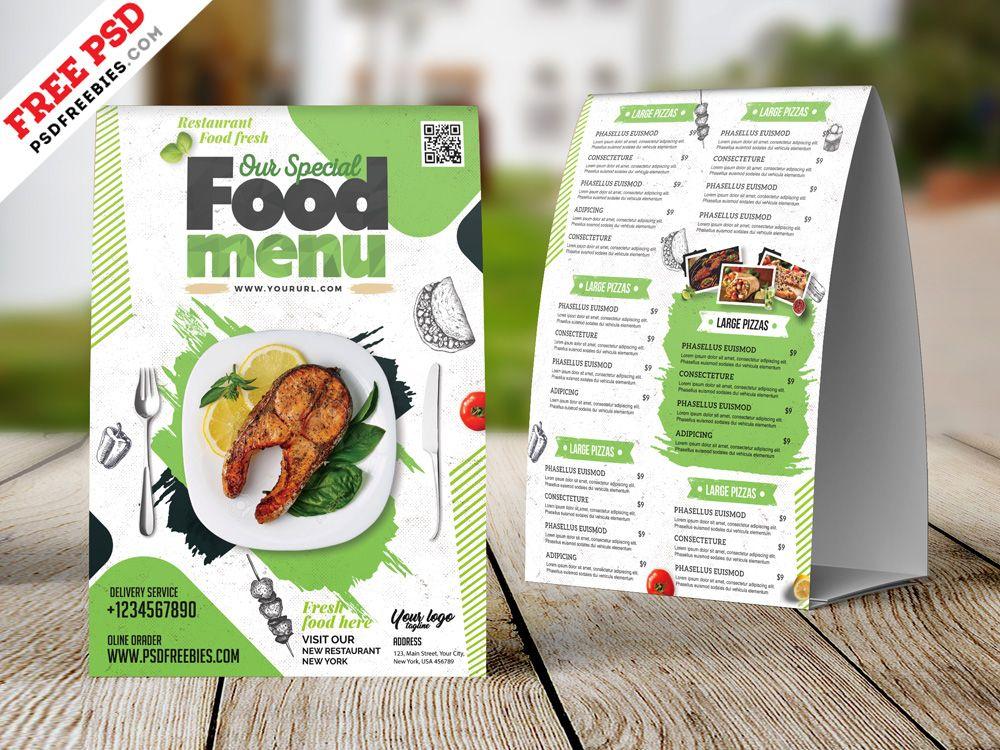 Restaurant Tent Card Food Menu Design Psd Desain Pamflet Desain
