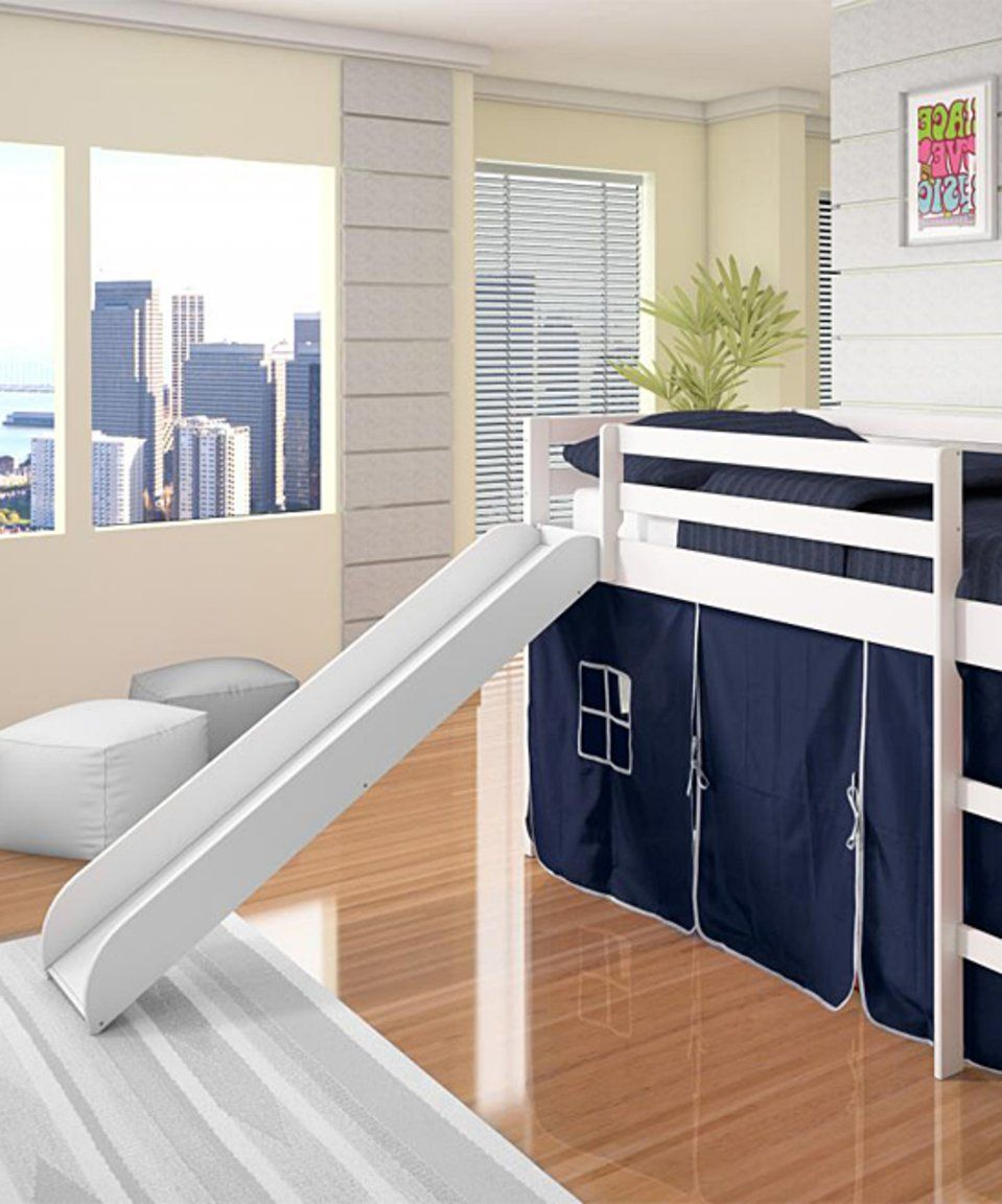 Loft bed with slide and storage  Take a look at this Blue u White Tent Loft Bed u Slide today  Baby