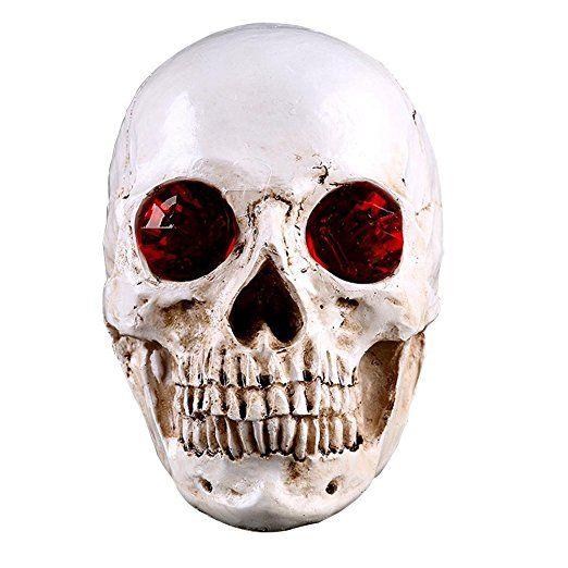 JIUQING Unique Home Furnishings Halloween Skull Skeleton Statue Decoration  Red
