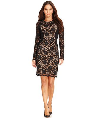 Karen Kane Long-Sleeve Lace Sheath Dress