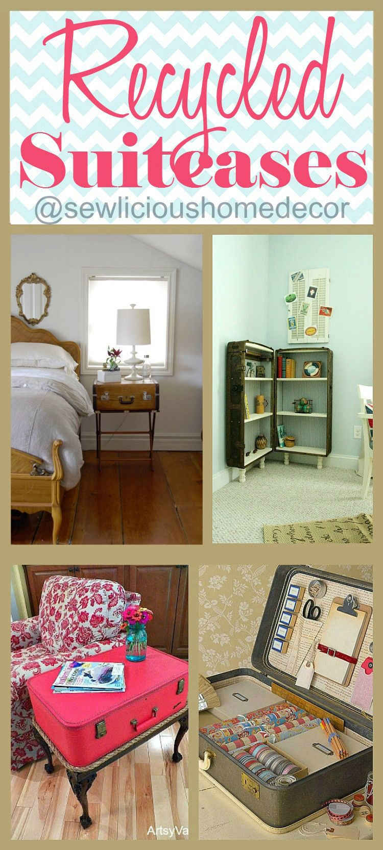 recycled suitcases diy furniture and storage ideas ogt blogger friends m bel koffer diy m bel. Black Bedroom Furniture Sets. Home Design Ideas