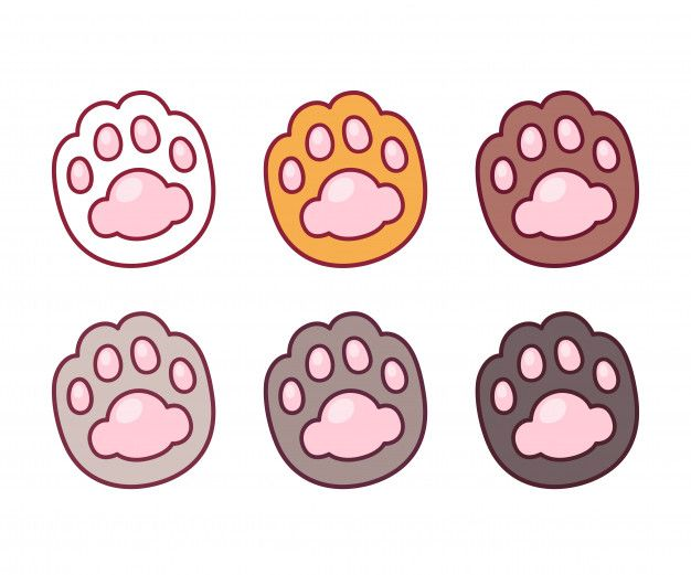 Cartoon Cat Paw Set Premium Vector Premium Vector Freepik Vector Logo Icon Dog Cartoon Paw Drawing Cat Paw Print Cat Paw Drawing