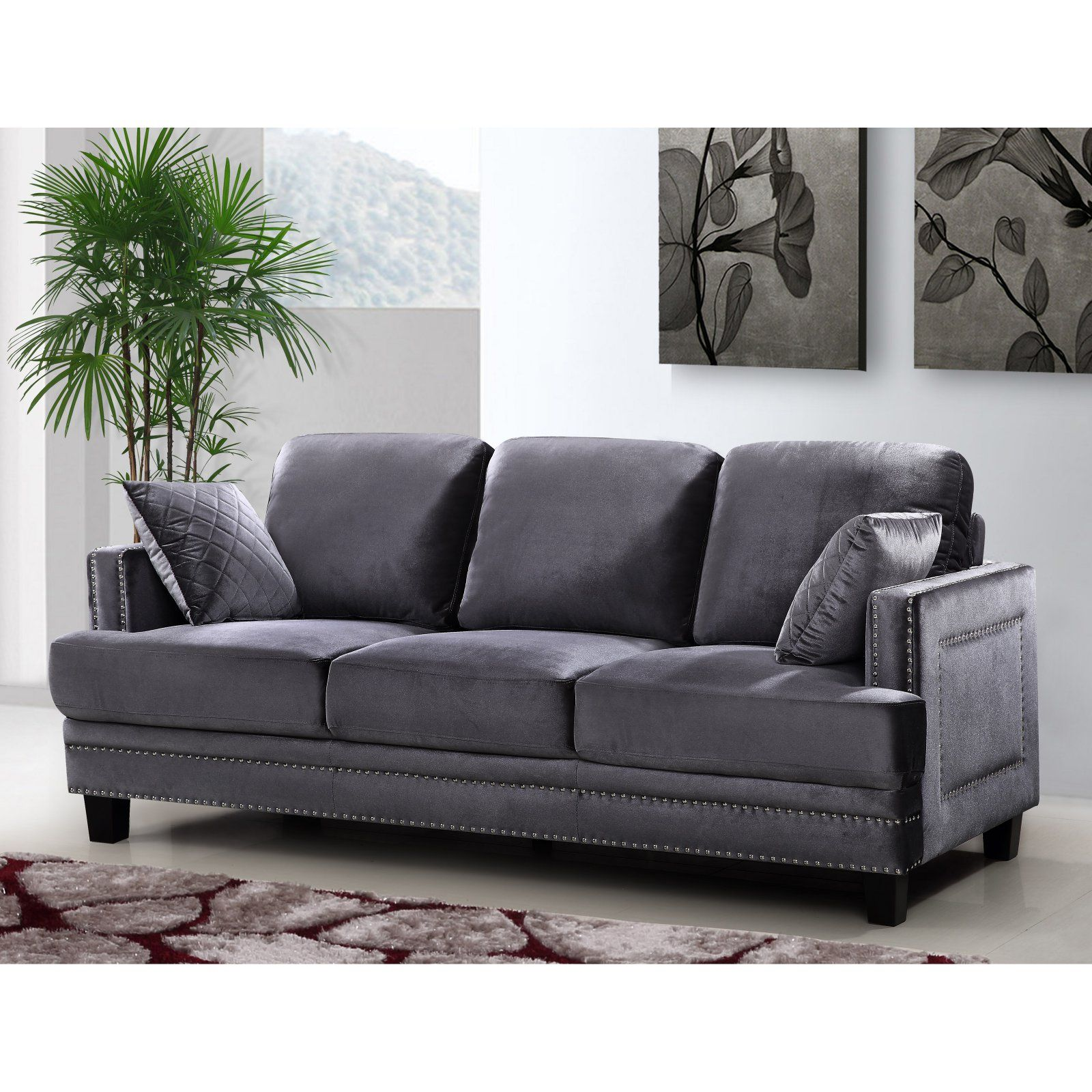Meridian furniture inc ferrara sofa gray