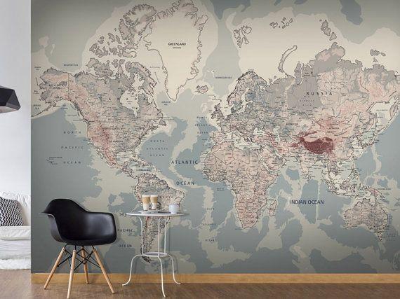 photo wallpaper wall murals non woven world map atlas modern design wall decals bedroom decor home design wall art decals 297