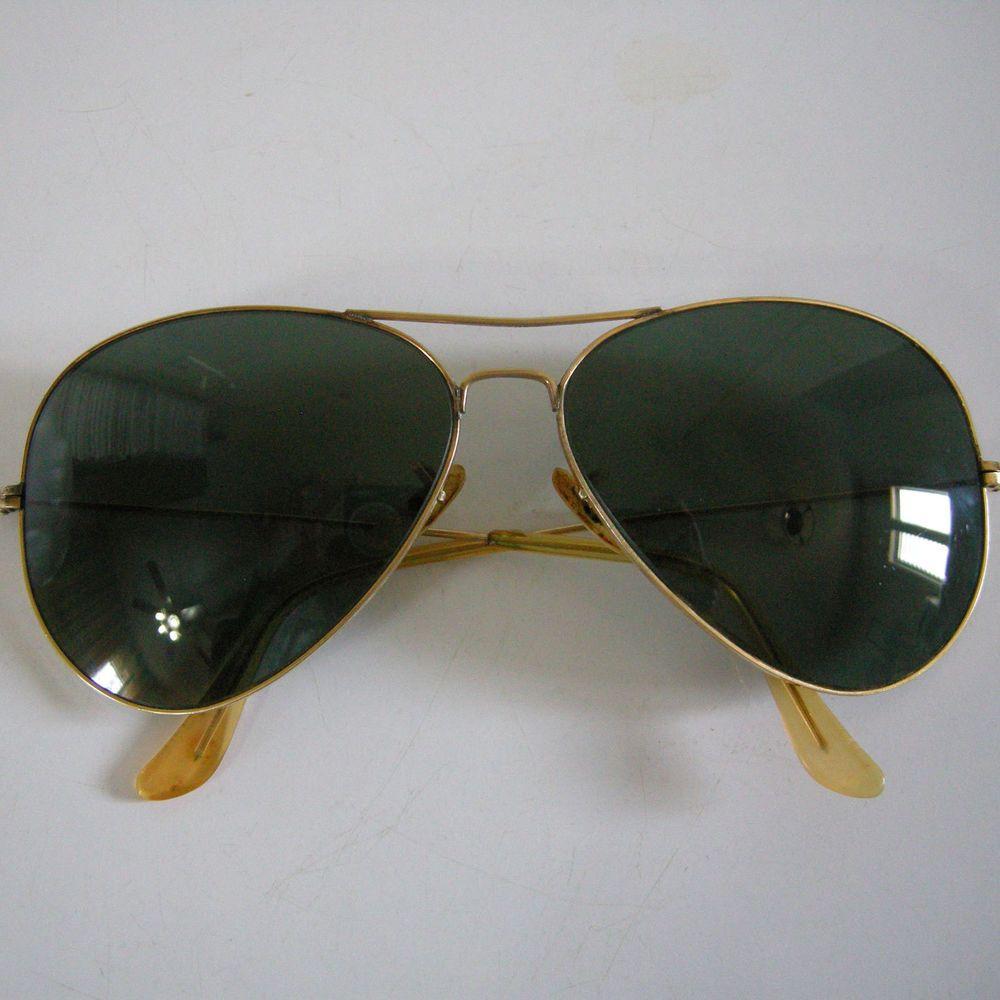 2f5e39137a6b Vintage B L Ray-Ban Bausch  Lomb 10k GF Gold Filled USA Aviator Pilot  Sunglasses  BauschLomb  Pilot