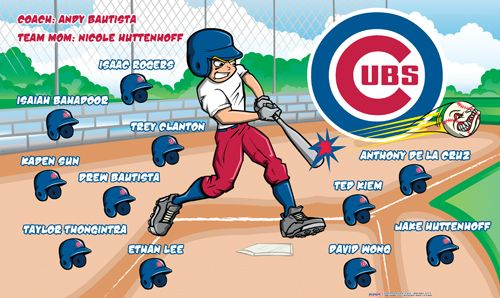 Cubs digitally printed vinyl baseball and little league sports team banner. Made in the USA and shipped fast by Banners USA. http://www.bannersusa.com/art/templates_2/digital/banners/vinyl-baseball-team-banners.php