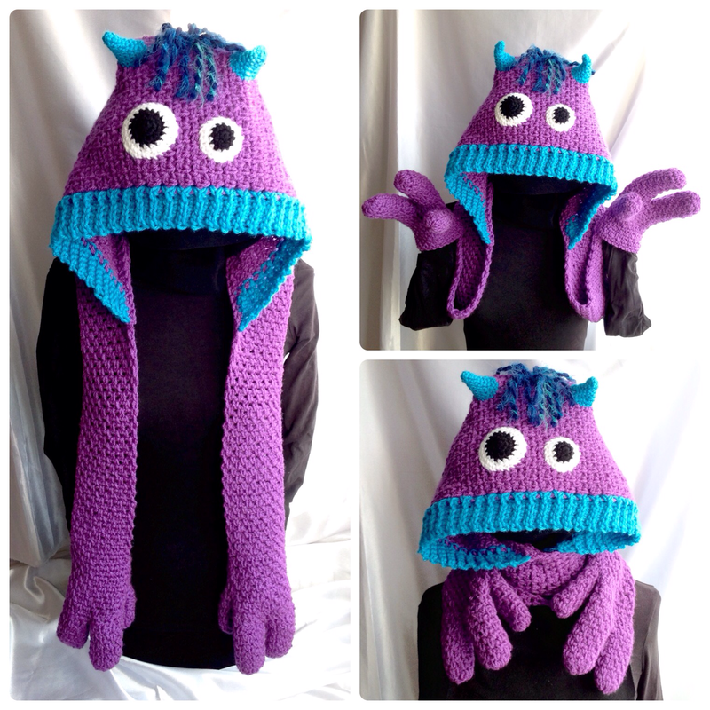 Kids Scarf Crochet Pattern Snuggle Monsters Hooded Scarf