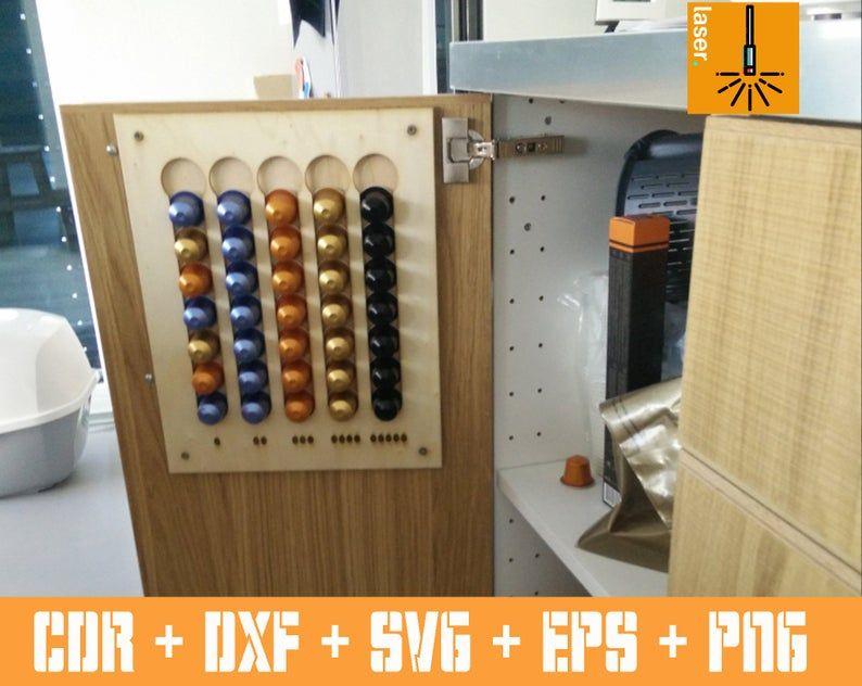 Nespresso Coffee Pod porte organisateur rangement vecteur modèle de coupe cnc CDR & DXF ...